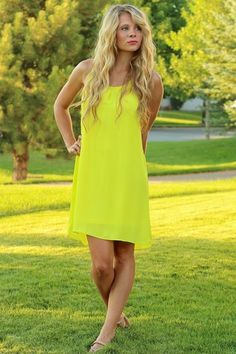 Lemon Chiffon Cross Weave Mini-Dress