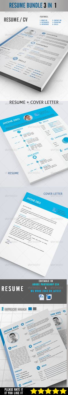 Resume Bundle 3 in 1 — Photoshop PSD #simple #docx • Available here → https://graphicriver.net/item/resume-bundle-3-in-1/8230161?ref=pxcr