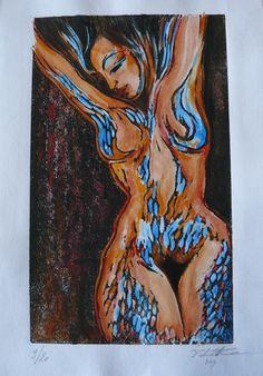 incisione linoelium figura femminile carta fine art