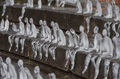 """Nele Azevedoasked some volunteers to built those sculpture... 5,000 ice figures """"sat"""" on Chamberlain Square in Birmingham, to mourn people ..."""
