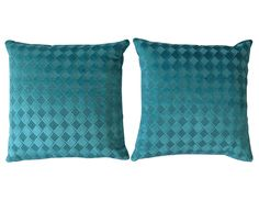 Pair of Turquoise Blue Diamond Patterned pillows