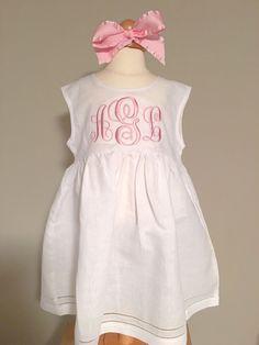 Monogrammed White Linen Dress, Toddler Dress, Baby Dress, monogrammed Easter Dress, White Dress, Flower Girl Dress , Baby Gift by JulieAnneMonograms on Etsy https://www.etsy.com/listing/238464667/monogrammed-white-linen-dress-toddler