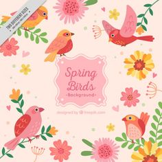 Lovely spring birds background Free Vector