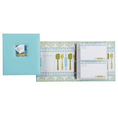 "Patisserie Recipe Book  This three-ring contructed book measures 8 5/16"" w x 9 3/8"" h x 1 3/4"" d and includes 12 tab dividers pages, 20 PVC-free pocket page sheets (holds 4 x 6"" recipe cards), and 40 - 4"" x 6"" recipe cards."