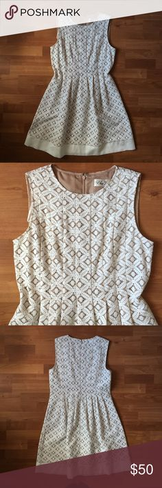 """ELIZA J White Lace Fit Flare Sleeveless Dress Eliza J white lace w/ nude lining sleeveless fit and flare dress.  ❥  Worn once. Excellent used condition. ❥  Shell: 75% cotton, 25% nylon; Combo: 55% linen, 45% rayon; Lining: 100% polyester.   ❣ No trades. No PayPal. No holds. ❣ ❣ For offers, use the """"Offer"""" button below. ❣ Eliza J Dresses"""