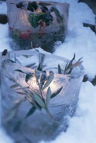Make your own candle holders out of ice for an inexpensive winter wedding centerpiece.  You could put berries, twigfs, greens or anything you want in it!