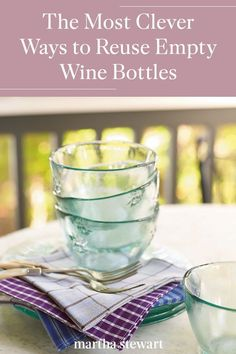 Transform any glass bottles into pretty home decor like flower vases and tabletop centerpieces, decanters for everything from soaps and salad dressings, and hostess gifts. #marthastewart #diydecor #diyprojects #diyideas #hobby Reuse Wine Bottles, Empty Glass Bottles, Wine Bottle Crafts, Bottle Art, Simple Life Hacks, Salad Dressings, Hostess Gifts, Flower Vases, Fun Projects