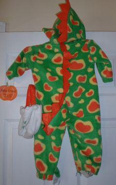 DINOSAUR T Rex Halloween Costume Soft Hooded Fleece One Piece Boys 3/6 mos NWT