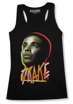 "DRAKE ""FACE"" PORTRAIT BLACK RACER BACK TANK TOP SHIRT NEW OFFICIAL JRS RAPPER"