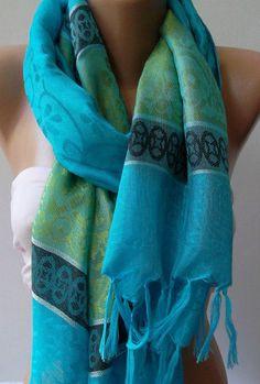 Blue  Silk  pashmina   Shawl / Scarfunisex , $19.90