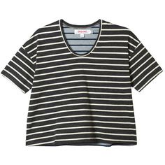 Organic by John Patrick Combo Striped Crop Tee found on Polyvore