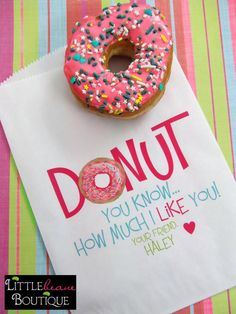 Cute  for Valentines Day morning! Donut idea! What a great idea! Boyfriend surprise inspiration.