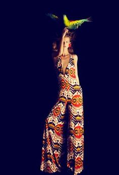 Harpers Bazzar 1970s jumpsuit - with red, yellow & black pattern