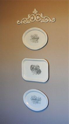 Vinyl letter from dollar store on platters. More ideas for dollar store decor.