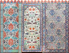 Les arts de l'Islam au Louvre Panneaux du mur de céramique ottomane (détails) panneaux de carreaux peints sous glaçure Empire ottoman Iznik, Kütahya 16è-19è siècle La totalité du mur reconstitué mesure 3,5 m de haut et 12m de large