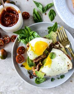 Avocado, Bacon and Egg Toast with Quick Tomato Jam. | How Sweet It Is | Bloglovin'