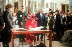 The Queen signs the visitors' book at the opening of New Parliament House in 1988 Houses Of Parliament, Save The Queen, The Visitors, Queen Elizabeth, Vietnam, Queens, Royalty, Australia, God