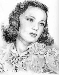 GENE TIERNEY, movie star.  One of my favorites from Hollywood's Golden Years.  Drawn 08/19/09.