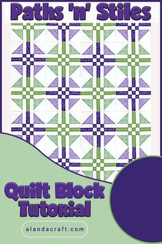 Paths and Stiles is such an impressive looking quilt block, yet it's so easy to make. Our step by step tutorial shows you how easy. It makes a lovely quilt. Quilting Templates, Quilt Block Patterns, Quilting Tutorials, Pattern Blocks, Quilting Projects, Quilting Designs, Quilting Ideas, Quilt Blocks Easy, Easy Quilts