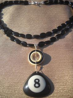 8 Ball Necklace Billiards Game, Pool Accessories, Ring Bracelet, Bracelets, Ball Necklace, Washer Necklace, Bling, Unique Jewelry, Handmade Gifts