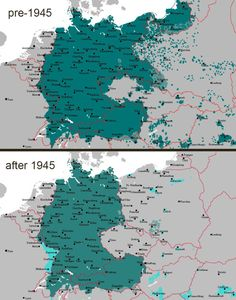 Decline of the influence and distribution of the German language in Central Europe [[MORE]] GCHQ_shill: This map shows the results of ethnic cleansing in central and eastern Europe after World War 2. Flight and expulsion of Germans (1944–50)