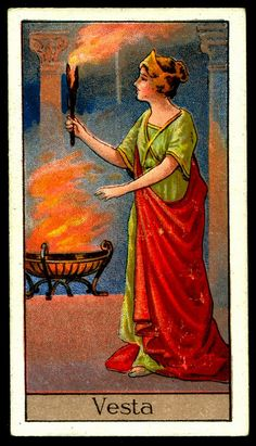 "Cigarette Card - Vesta. ""Mythological Gods & Goddesses""."