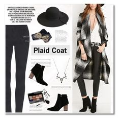 """Plaid waterfall coat - black and white"" by yexyka ❤ liked on Polyvore featuring Bobbi Brown Cosmetics"