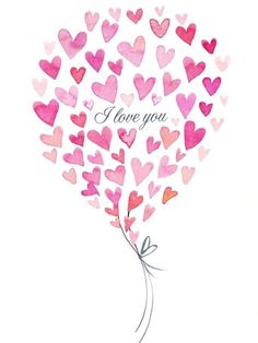 I love you ❤ (Victoria Nelson) Valentines Watercolor, Valentines Art, My Funny Valentine, Watercolor Cards, Happy Valentines Day, Watercolour, Heart Illustration, Heart Day, Heart Cards