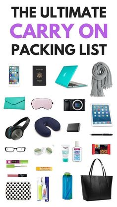 Not sure what to pack in a carry on bag? We've got you covered with the ultimate… Not sure what to pack in a carry on bag? We've got you covered with the ultimate carry on packing list for every trip! ***************Carry On Packing Tips Carry On Bag Essentials, Travel Essentials For Women, Carry On Packing, Packing List For Travel, Airplane Essentials, Vacation Packing, Traveling Tips, Suitcase Packing, Holiday Essentials
