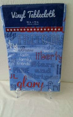 American Patriotic Vinyl Tablecloth BBQ  2 sizes Flannel Back #Nantucket