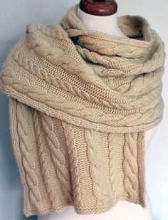Knitting Pattern for Cabled Shawl