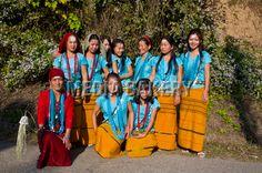 Traditionally dressed girls from the Hillmiri ethnic group near Daporijo, Arunachal Pradesh, North East India, India, Asia