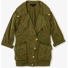 FOREVER 21 Oversized Studded Jacket ($48) ❤ liked on Polyvore