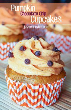 Pumpkin Chocolate Chip Cupcakes by JavaCupcake.com