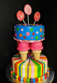 candy land birthday cake for a 3 year old | Candyland Cake - by Conniescakes @ CakesDecor.com - cake decorating ...