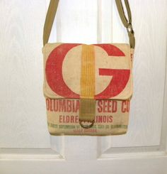 Vintage Funks G Hybrid seed sack upcycled cross-body by LoriesBags