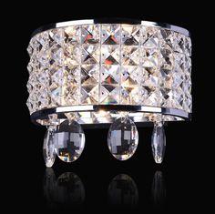 4 Halogen Lamp Semi-Cylinder Crystal Wall Sconce - Indoor Wall Lights - Wall Lights - Lighting