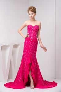Beaded Flouncing High-low Prom Evening Dress in Fuchsia Brush Train