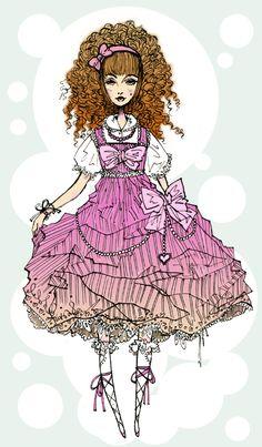 Sweet Lolita (love the way her hair is drawn!)