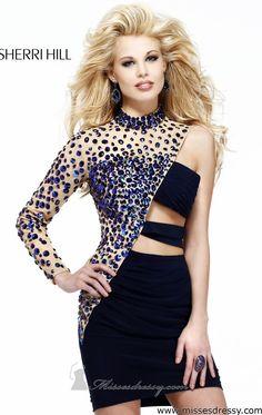 Asymmetric Three Quarter Length Sleeve by Sherri Hill, Shop it here: http://www.missesdressy.com/dresses/designers/sherri-hill/21185 #TrendThursday #miniskirt #sequins #sheer #navy #nude #MissesDressy #SherriHill