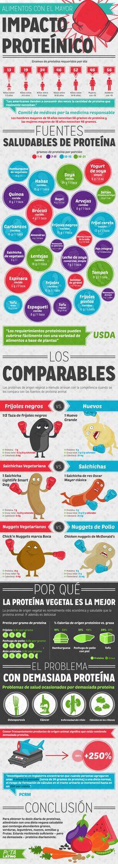 Alimentos con el mayor impacto proteínico (Infografía) | Features | PETA Latino