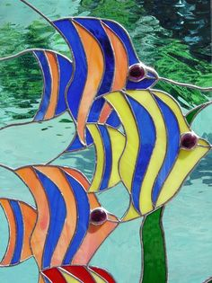 Tropical Fish Swim Stained Glass Window Panel