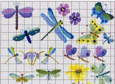 Butterflies & dragonflies cross stitch - schemat7.jpg 3,247×2,378 pixels