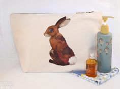 #Rabbit Canvas Wash Bag Large Zipper Pouch Makeup Bag Toiletry Bag Accessory Bag Ceridwen Hazelchild Design