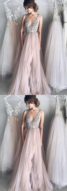 Sexy A-Line Deep V-Neck Pink Tulle Long Prom Evening Dress with Appliques 0068 Long Prom Dress, V-Neck Prom Dress, Appliques Prom Dress, Sexy Prom Dress, Evening Dresses Pink Prom Dresses Long V Neck Prom Dresses, A Line Prom Dresses, Tulle Prom Dress, Cheap Prom Dresses, Bridesmaid Dresses, Wedding Dresses, Party Dress, Prom Dresses For Teens Long, V Neck Dress Long