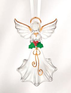"""Angel with holly Christmas ornament - 3"""" high Come see the 2014 Glass Baron collection at www.crystalcreations.biz"""