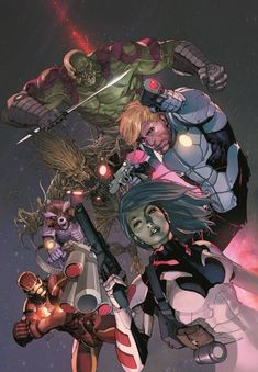 """The relaunched Guardians of the Galaxy """"Marvel NOW!"""" series continues as Iron Man finds himself a prisoner of the Spartax Empire. Hit the jump for a first look at issue from Brian Michael Bendis (All-New X-Men) and Steve McNiven (Captain America). Marvel Comics Art, Marvel Comic Books, Marvel Heroes, Comic Books Art, Captain Marvel, Comic Art, Marvel Movies, Comic Book Artists, Comic Book Characters"""