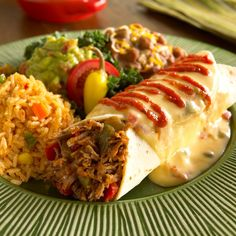 The Durango Burrito contains spicy shredded beef rolled in a flour tortilla with chile con queso topping and served with guacamole.      Abuelo's Shredded Beef  for Burritos and Enchiladas  Copycat Recipe