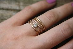 Celeste Dotted Ring - Gold Stacking Ring - 14k gold Fill