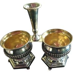 Sterling Silver 3 Part Condiment Server Caddy  Check out the new sale price on this gorgeous and unusual piece!